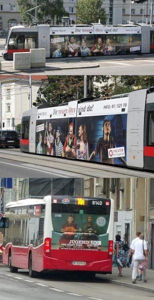 Theater der Jugend Fotos auf Bussen und Strassenbahn